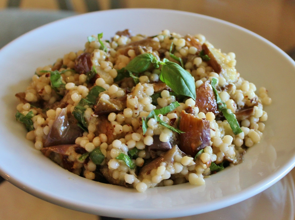 Israeli couscous with eggplant and basil