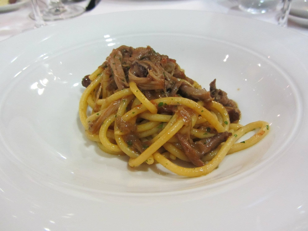 Bigoli with red wine duck ragu