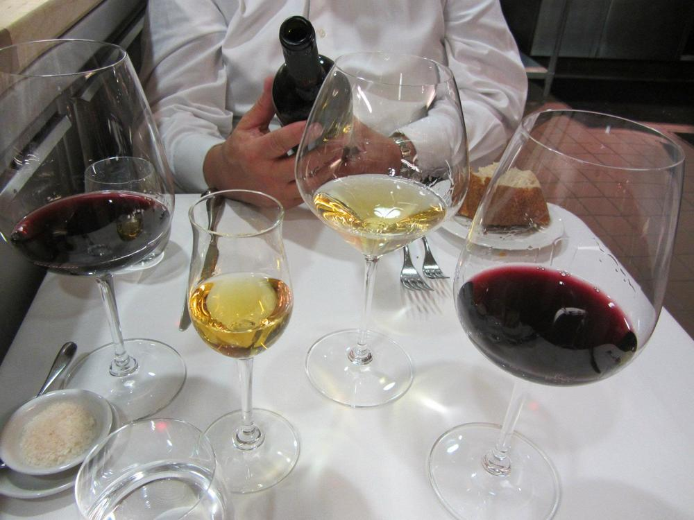 Pairings in addition to the red, including a tokaji and a Roncus Vecchie Vigne bianco (Friuli).