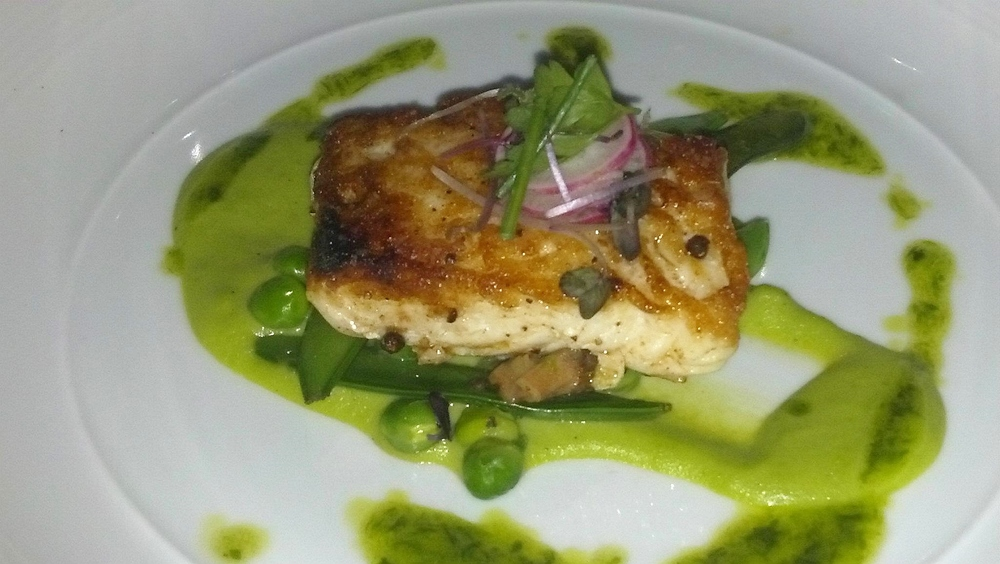Halibut with sugar snap peas