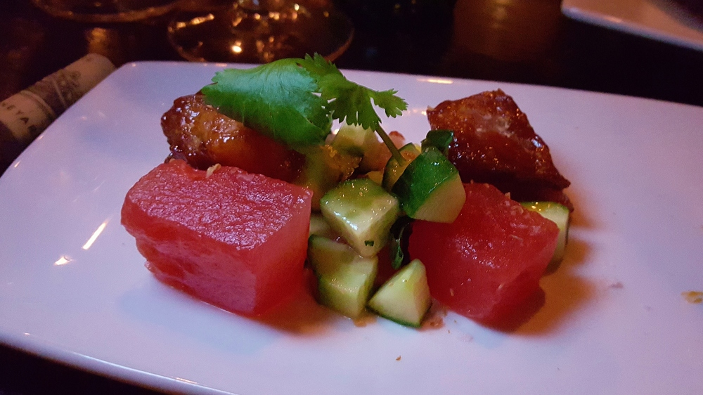 Pork belly with watermelon