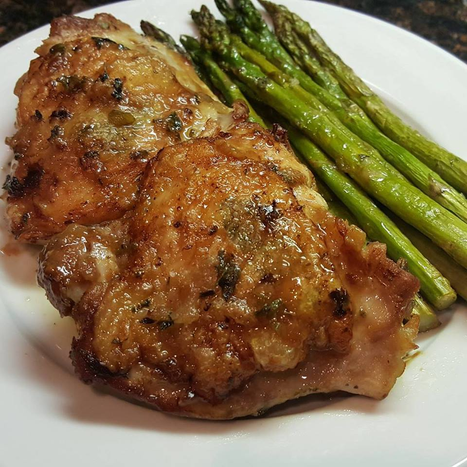 Crispy chicken thighs with preserved lemon
