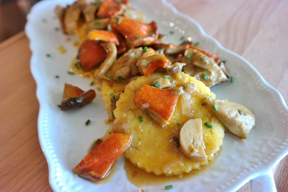 Polenta cakes with Arizona porcini and lobster mushrooms