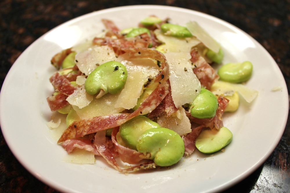 Salami with idiazabal cheese, raw favas, and lemon