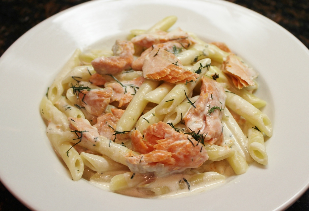 Sockeye salmon pennette with scotch-dill cream sauce