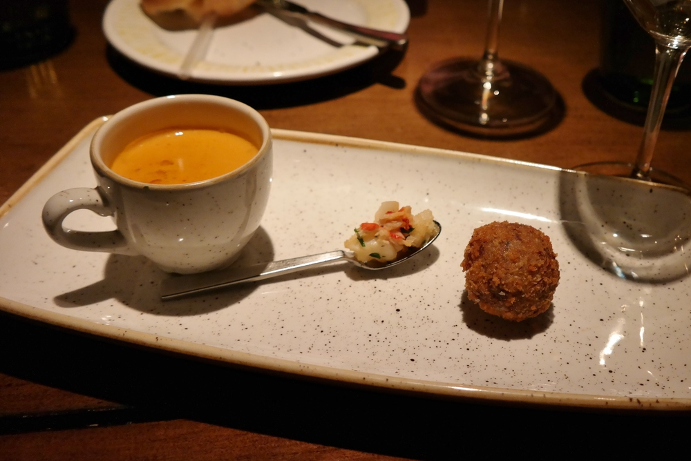 Lobster bisque with lobster and a braised short rib croquette