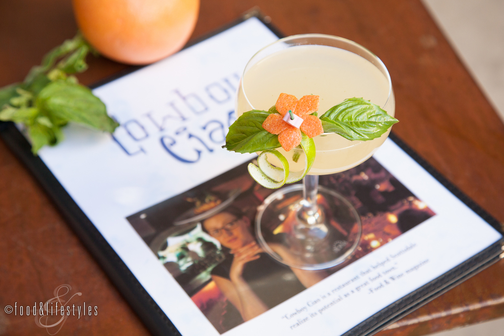 Tito's vodka, Giffard Pamplemousse Rose, grapefruit, ginger, basil and lemon.