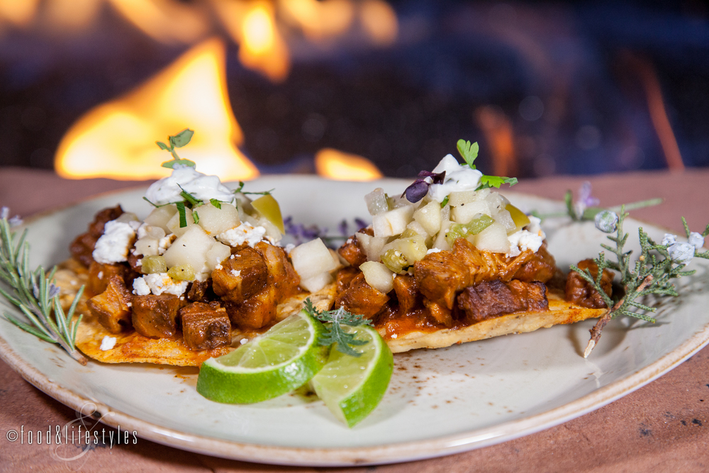 Lamb tostadas with smoked goat cheese and  tomatill0-apple salsa
