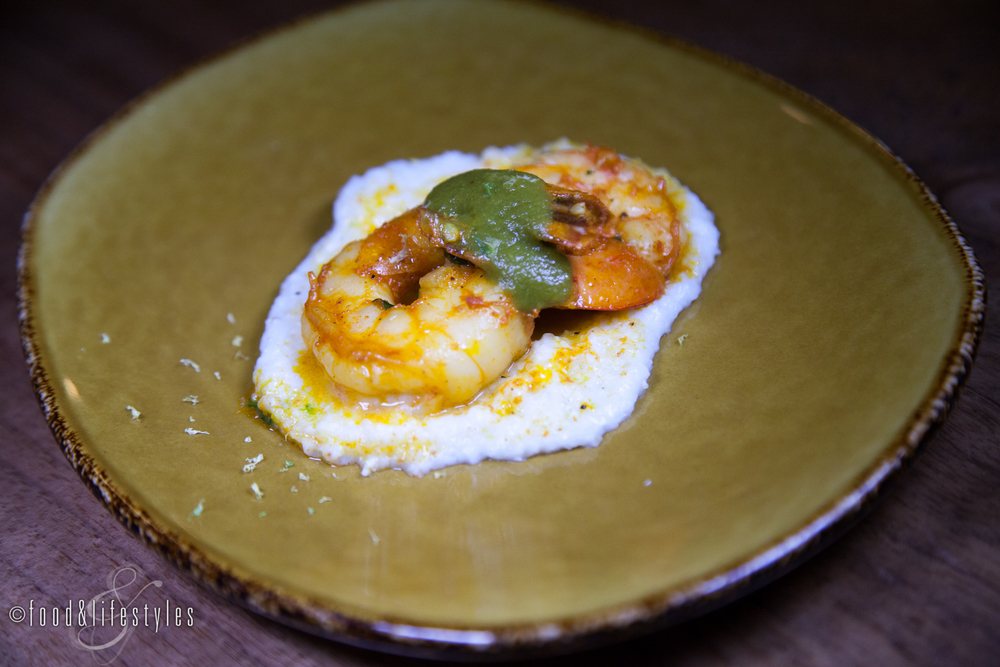 Southwest shrimp with lemon grits and smoked poblano-tomatillo sauce