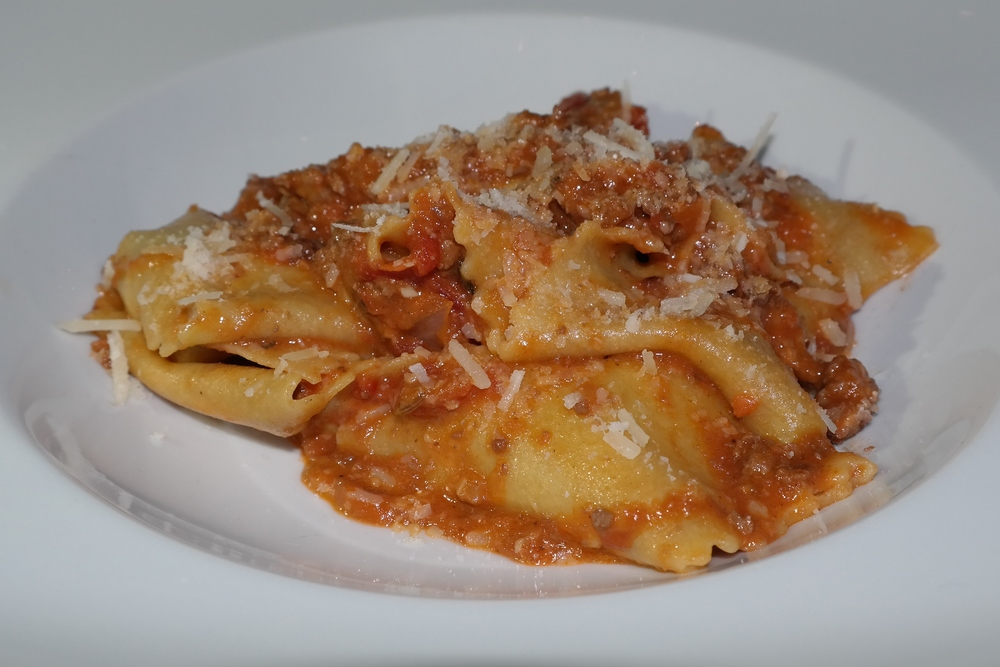 Pappardelle‬ with veal ragu and Schreiner's sausage.