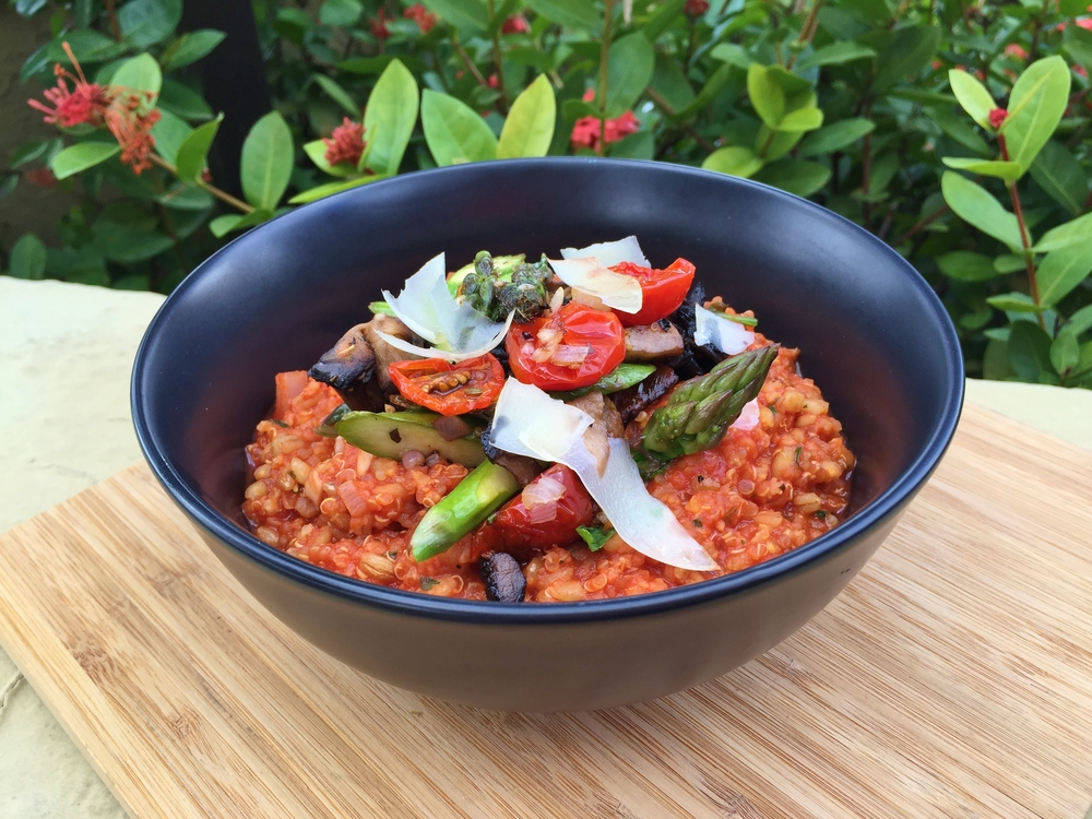 Ancient grains tomato risotto with asparagus, eggplant and shaved parmesan