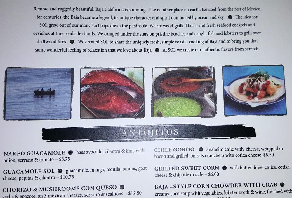 SOL Cocina menu