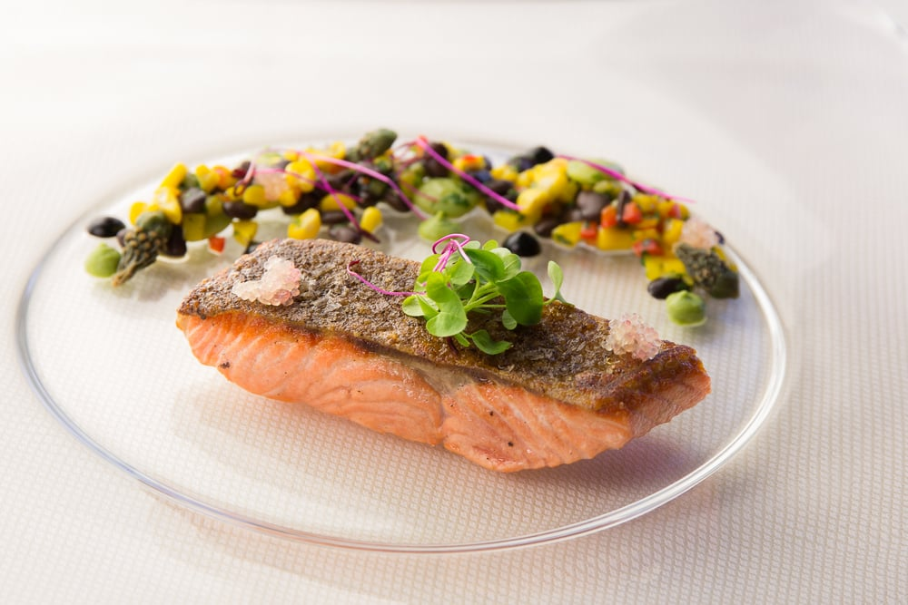 Loch Etive steelhead trout with finger lime and micro greens with msickquatash  of black tepary beans, nopalitos and cholla buds