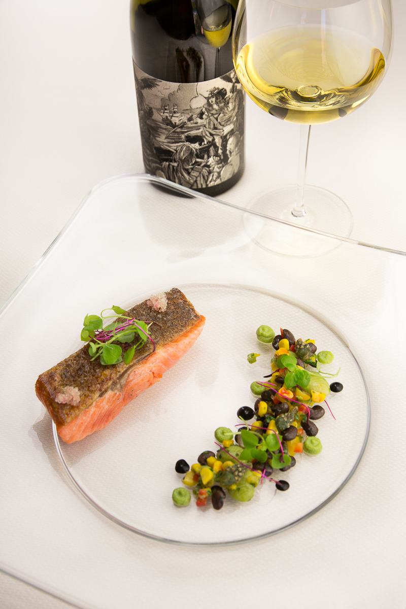 Loch Etive steelhead trout with finger lime and micro greens with msickquatash  (succotash) of black tepary beans, nopalitos and cholla buds