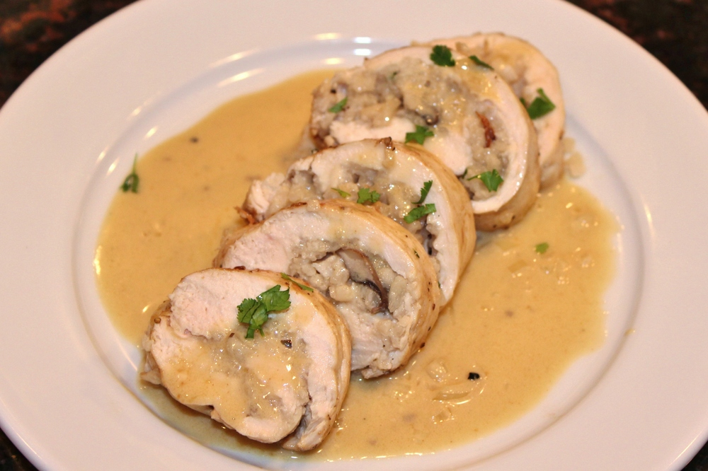 Chicken roulades stuffed with mushroom risotto