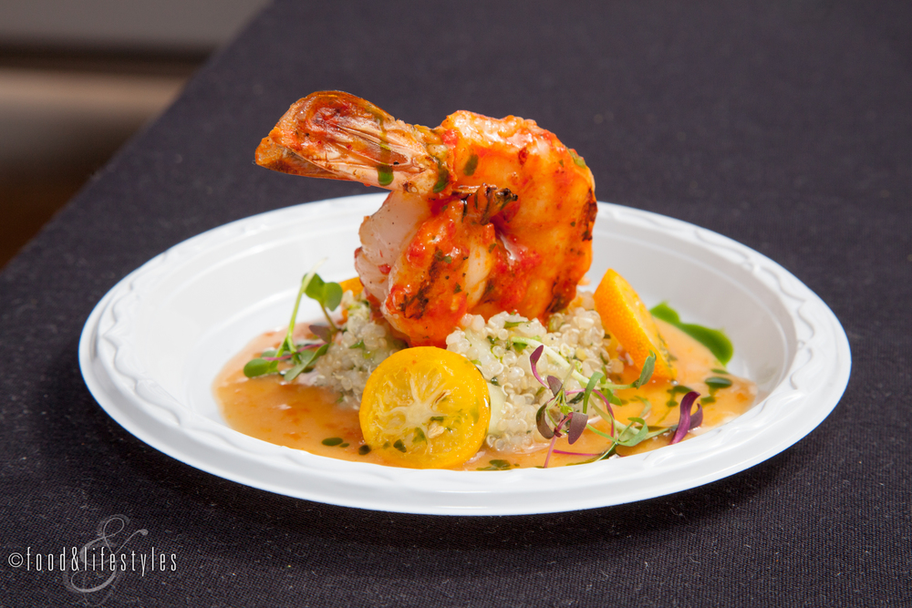 Different Pointe of View's piquillo pepper shrimp with quinoa, kumquat reduction, basil oil