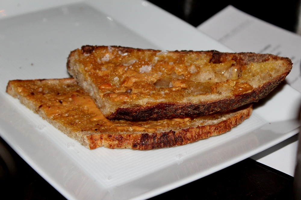 Toast with monkfish liver butter