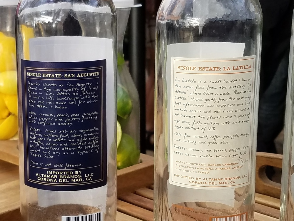 Each label describes the tequila vintage