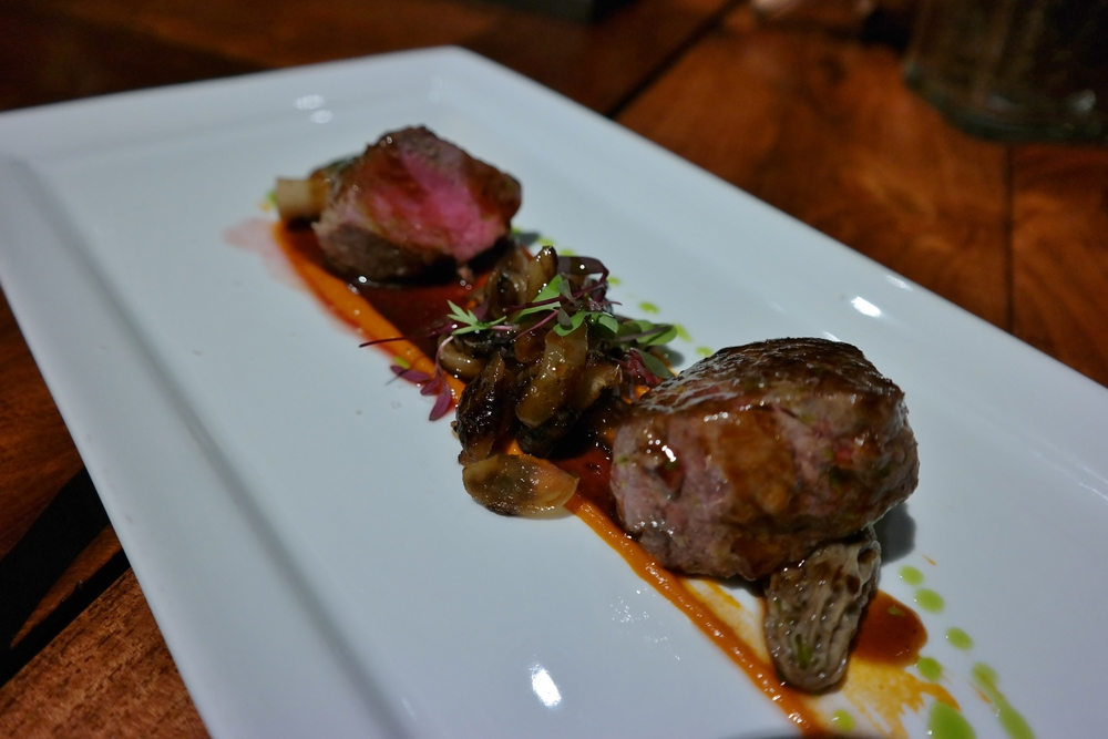 Lamb with cipollini onions, morel mushrooms, and tomato puree