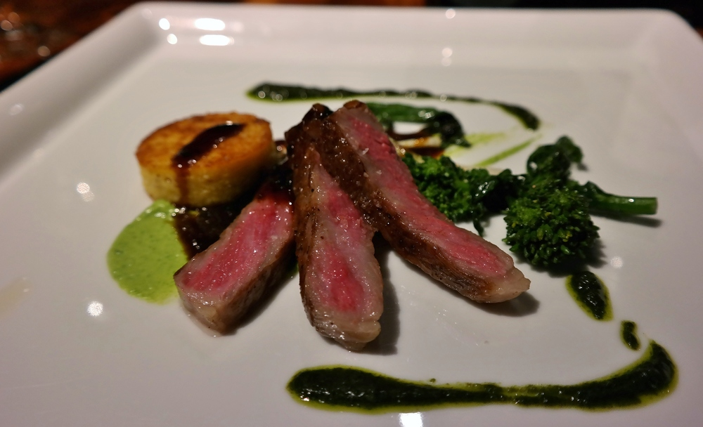 Kobe beef with rapini and truffle demi-glace