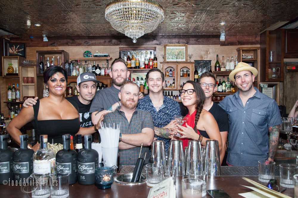 "The talented team: Kirti Dwivedi of Diya Marketing, Executive Director Rich Furnari, cocktail pros Sean Traynor, Clint ""Spotty"" Spotleson, Keifer Gilbert, and Mari Howe, barback Patrick, and Jason Asher, consultant in beverage development"