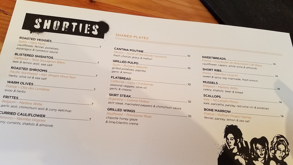 Shared plates menu
