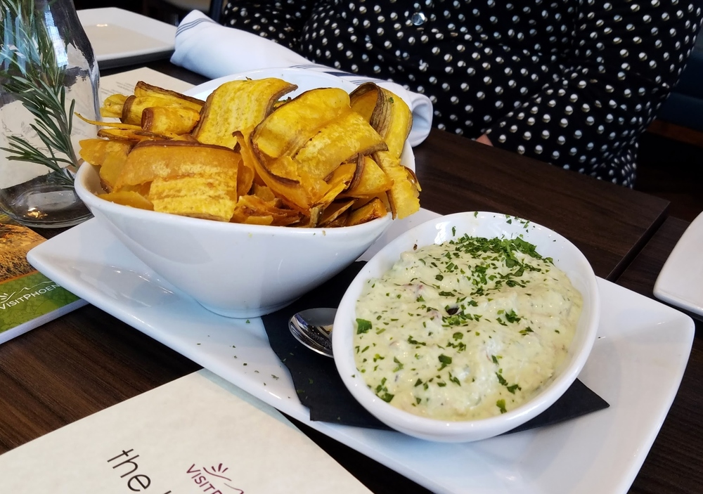 Cilantro-lime crab dip with plantain chips
