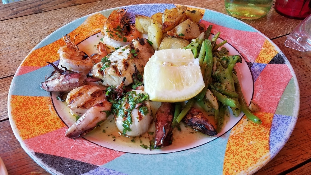 Pesce Misto special (grilled scallops, shrimp, calamari, and sea bass)
