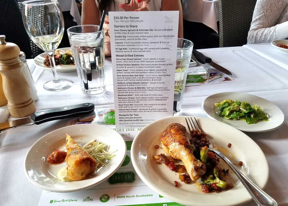Sampling AZ egg rolls, roast chicken with bacon hash, and brussels sprouts with marcona almonds