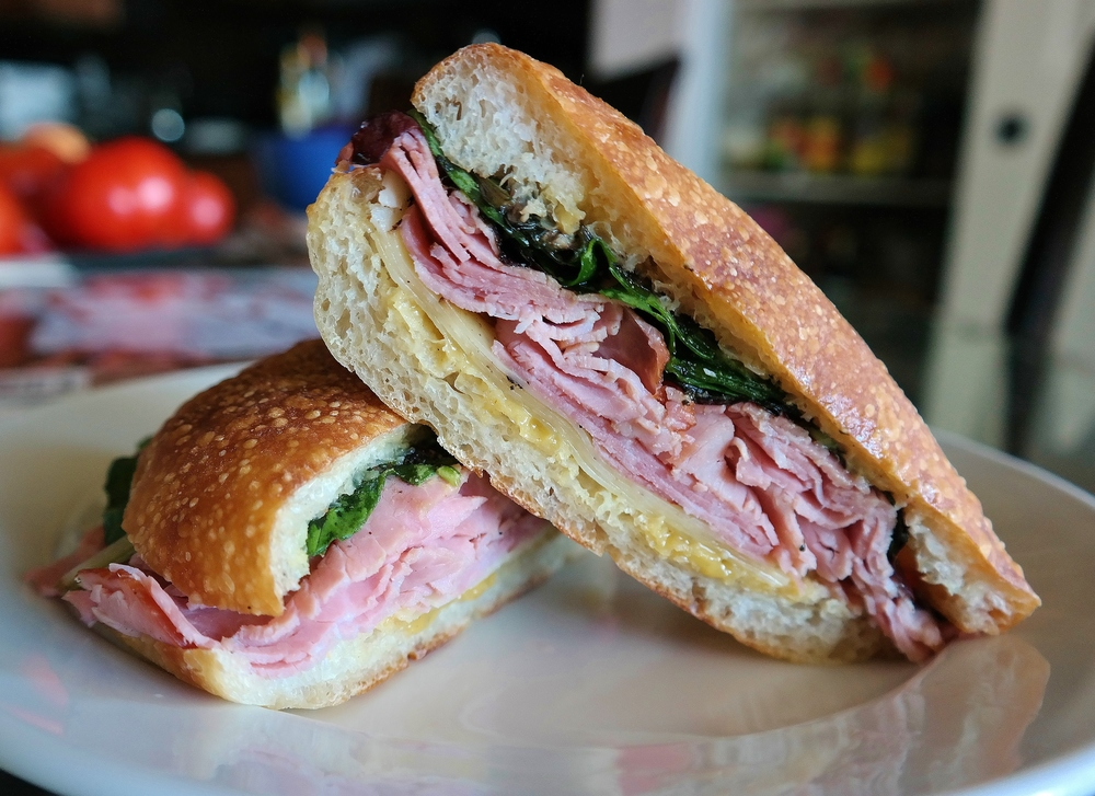 Fra' Mani apple ham, Barely Buzzed espresso cheese, greens with tangerine oil, truffle-mustard