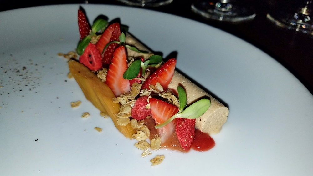 Foie gras with strawberries, pickled rhubarb, strawberry-rhubarb jam, and black pepper granola