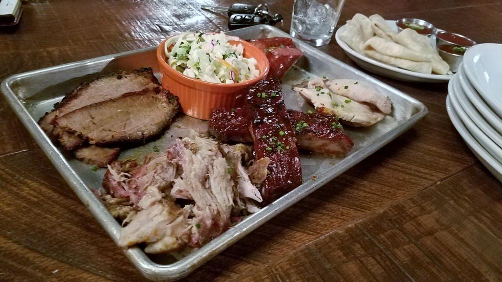 Smoked turkey, St. Louis ribs, pulled pork, brisket, coleslaw and Schreiner's hot links.