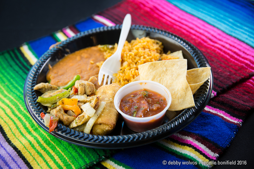 Chicken fajitas and chimichanga plate - Crossroads Restaurant