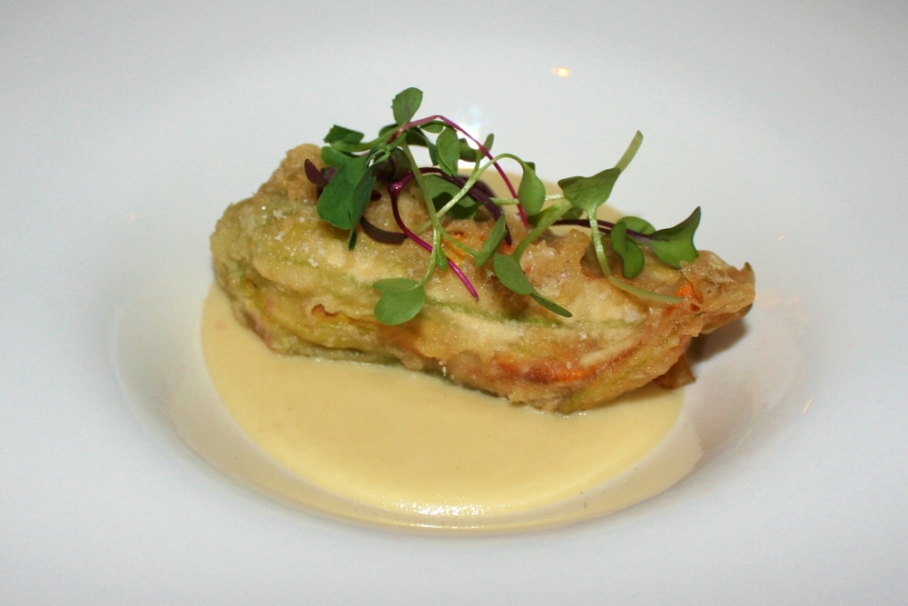 Mesquite-smoked lobster stuffed squash blossom