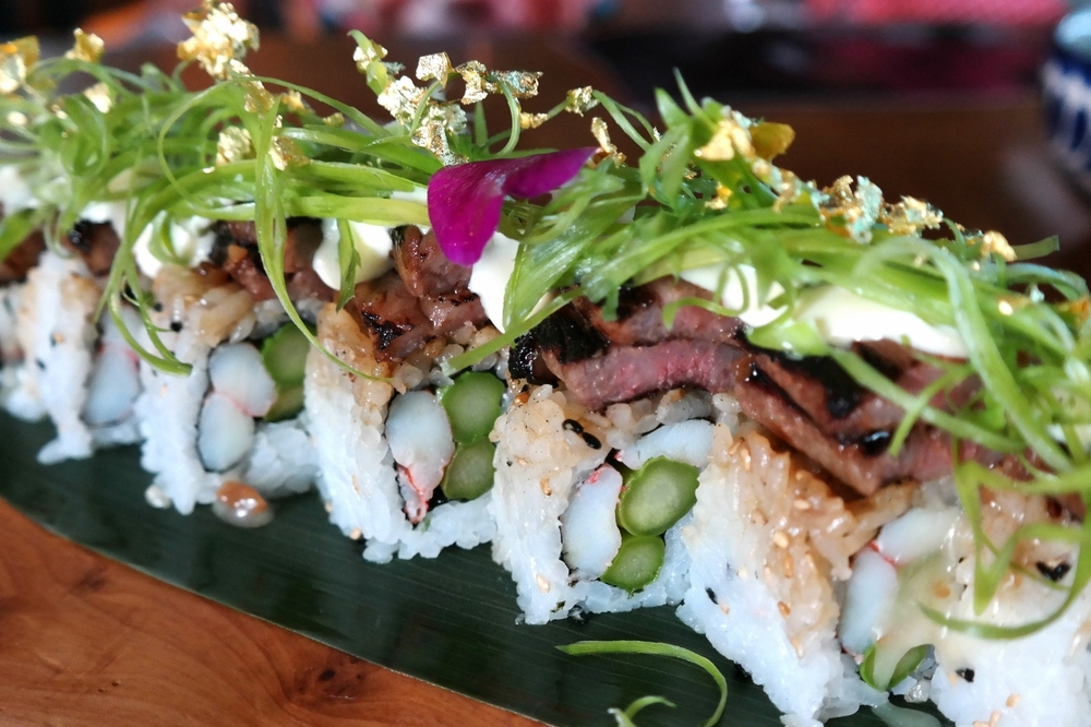 SumoMaya's Billionaire Roll with wagyu, snowcrab, asparagus, truffle aioli, and gold flake