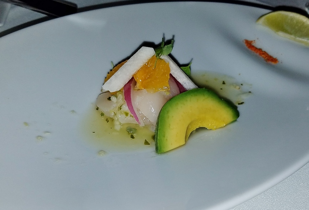 3: Scallop aguachile, avocado, orange, jicama, salsa verde cruda