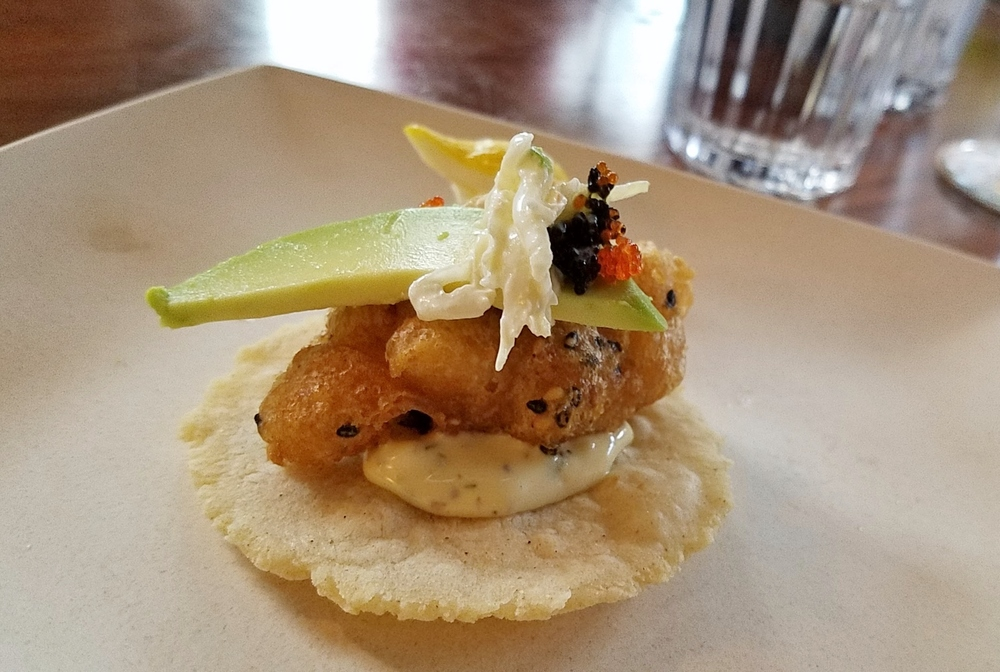 Tempura fish taco with wasabi slaw and tobiko