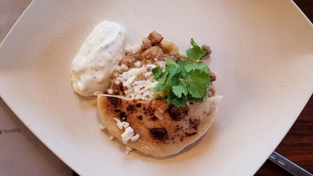 Xinjiang lamb gordita with pineapple crema
