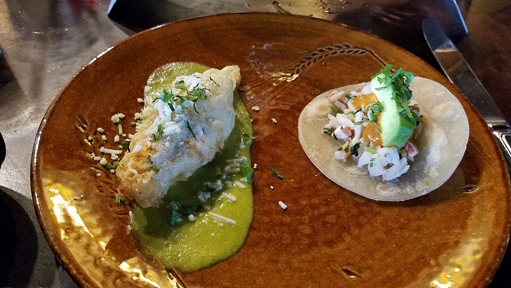 Stuffed squash blossom and lobster taco
