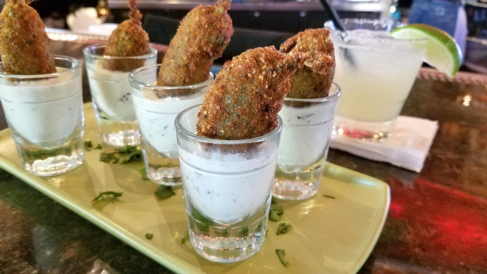 Cantina Shooters (stuffed jalapenos with cilantro buttermilk)