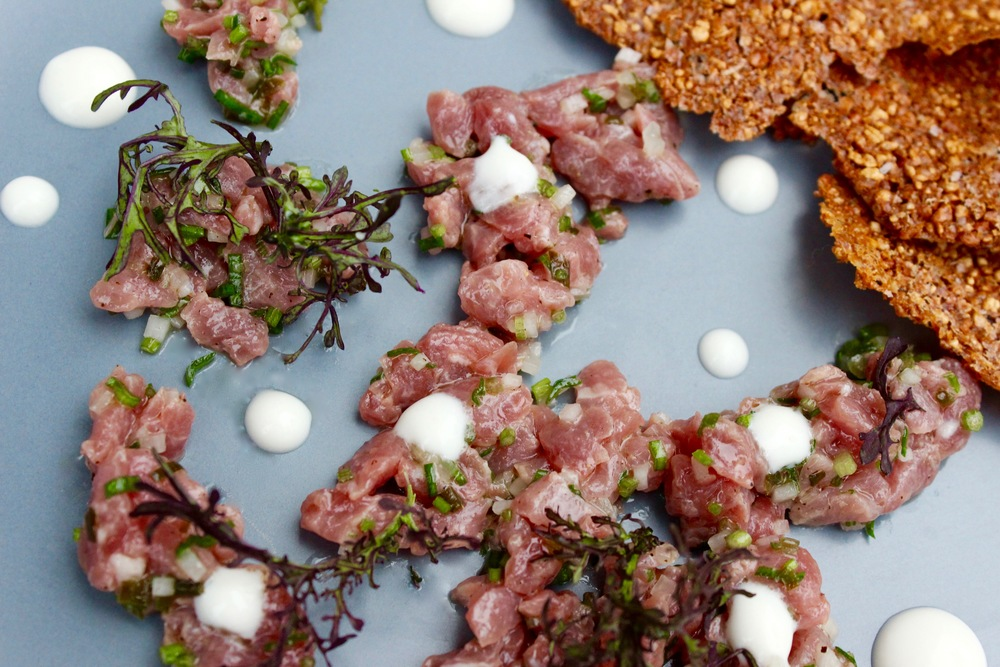 Lamb Tartare with Puffed White Sonoran Wheat Crackers
