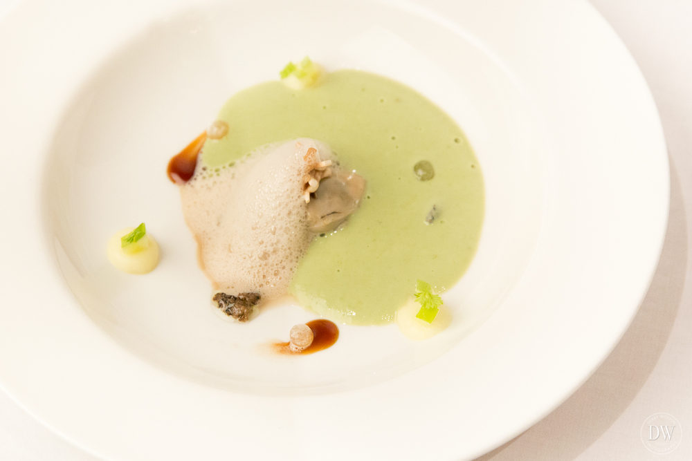 Oyster with iodine sauce, green apple and mushroom foam