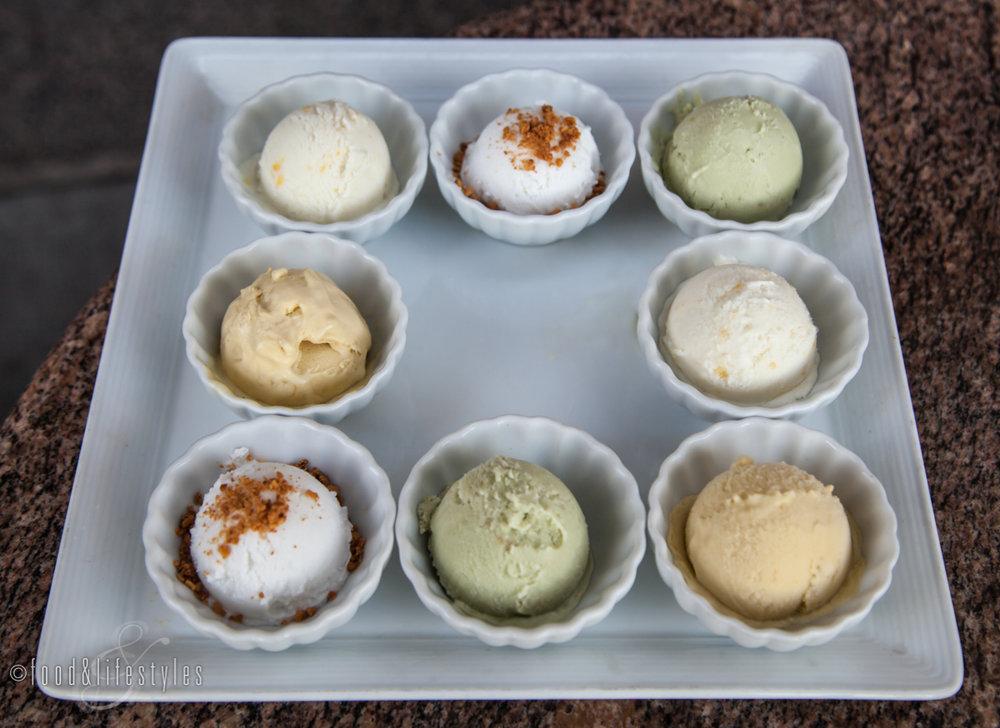 Mango, avocado, pineapple, lychee and coconut ice cream