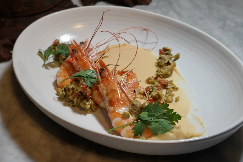 T. Cook's: Garlic roasted prawns, cannellini bean puree, picholine olive tapenade