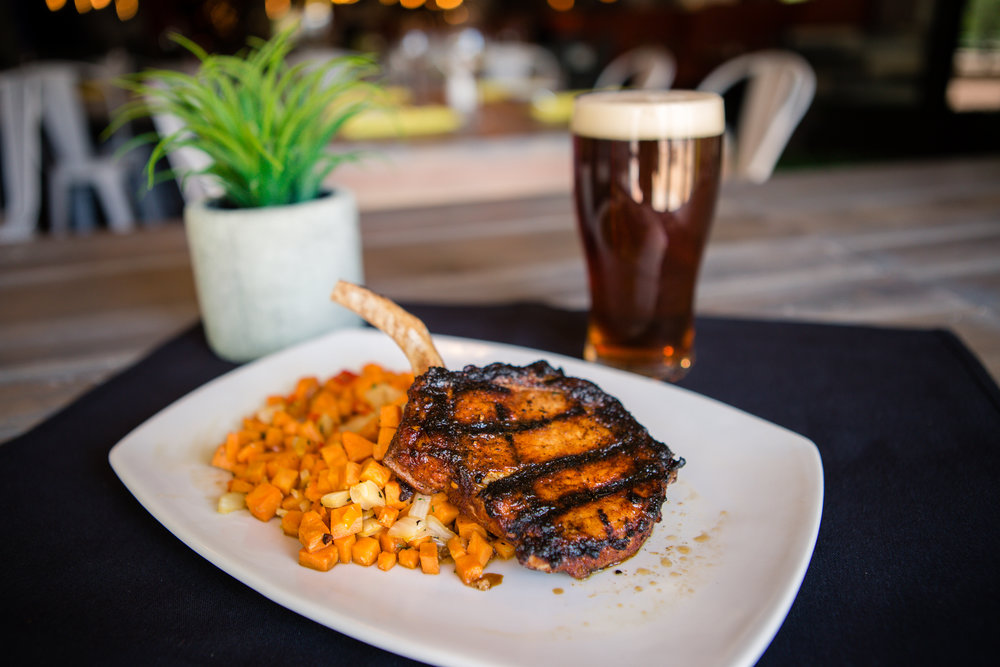 BLK Live pork chop with sweet potato hash