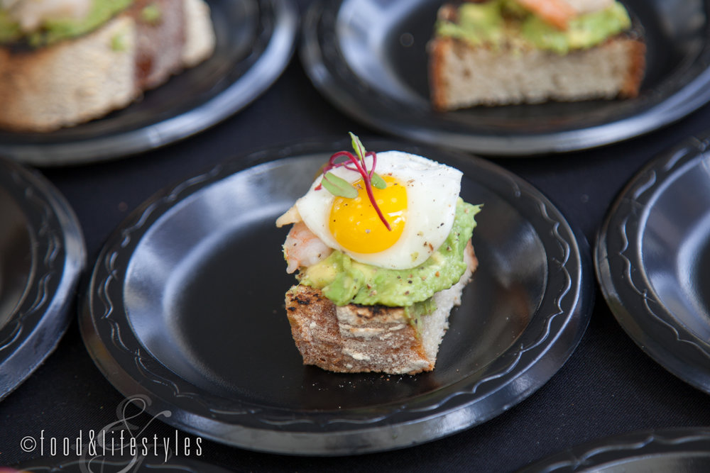 The Vig: Butter-poached shrimp on avocado toast with quail egg