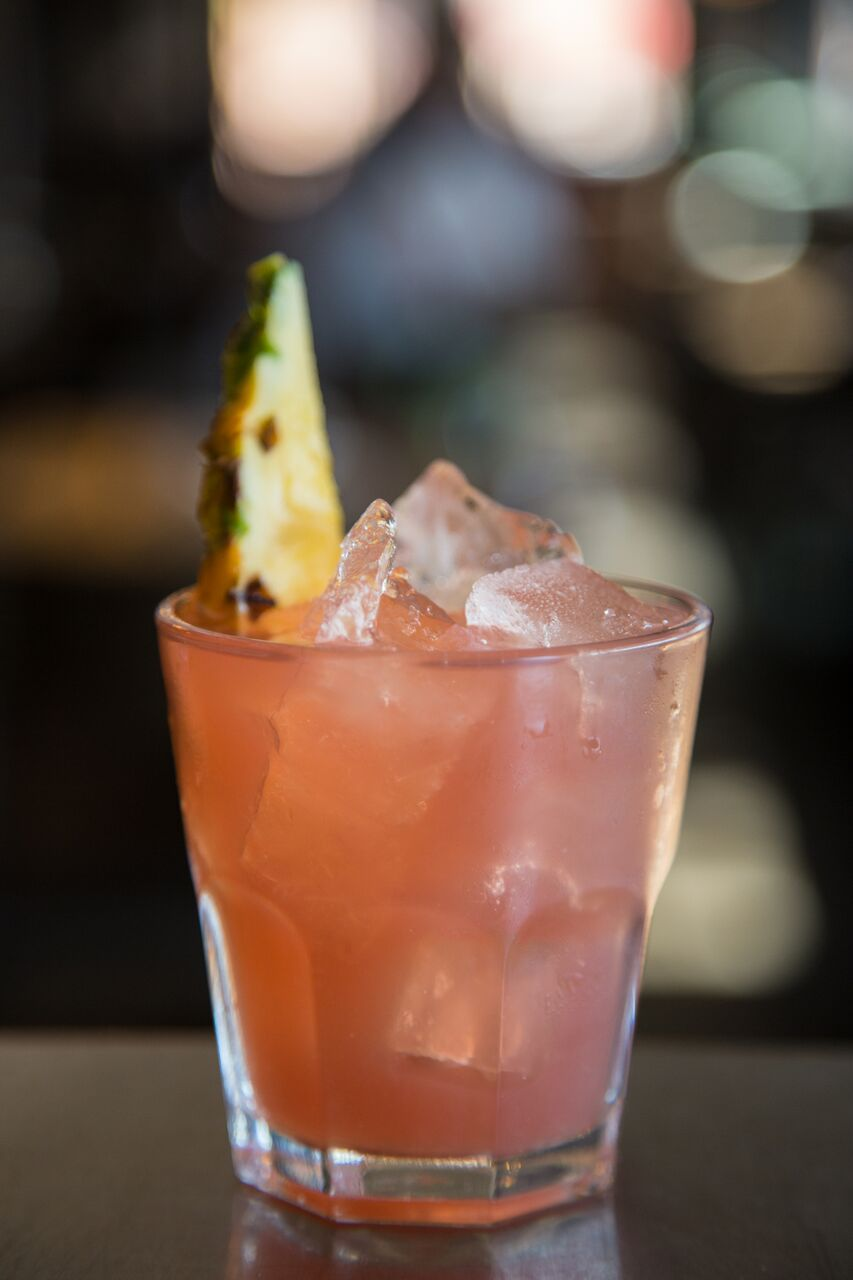 Fizzy Biscus (Kraken Spiced Rum, hibiscus, pineapple and lemon juice)