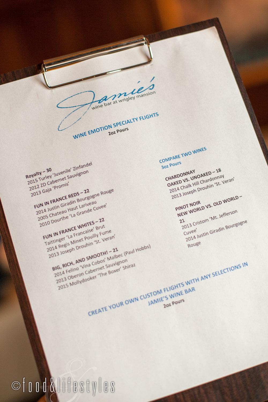 Wine flights Jamie's Wine Bar