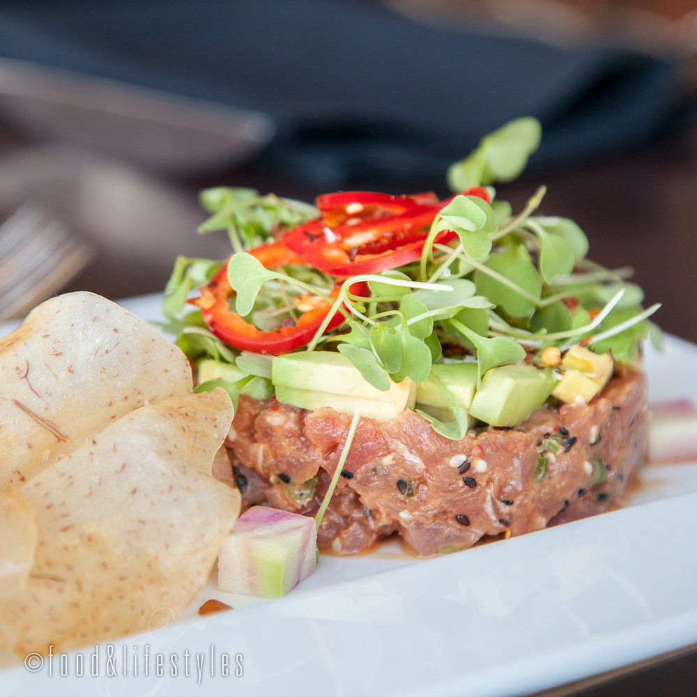 Tuna tartare with sesame-yuzu vinaigrette and taro chips