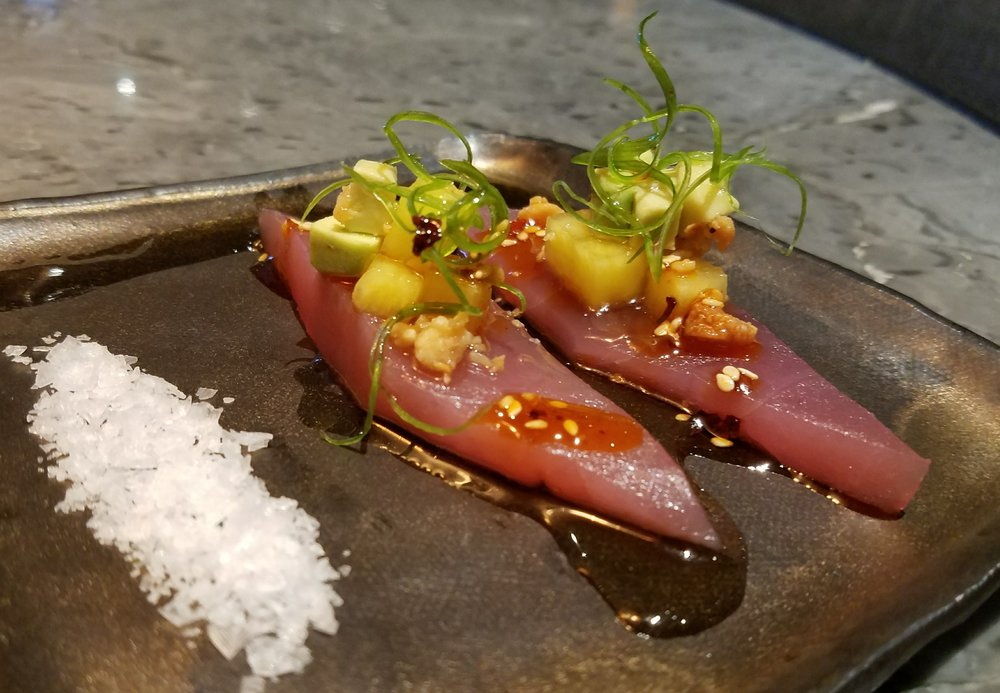 Tuna crudo with avocado, macadmia nuts, pickled pineapple, Oaxacan chile shoyu and Szechuan peppercorn chile oil